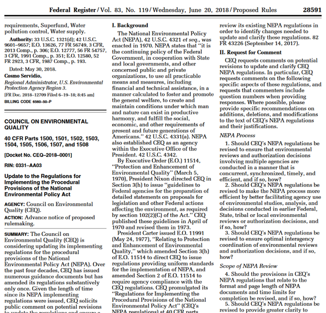 Screenshot of the Federal Register, Vol 83, No. 119, 20 June 2013, showing the Trump administration's proposal for the largest rollback in history to the protections for air, water, and wildlife provided by the National Environmental Policy Act. Graphic: Federal Register