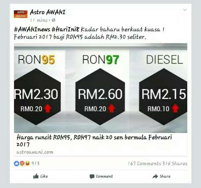 kadar baru harga petrol 1.02.2017
