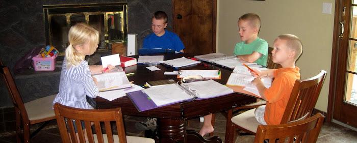 homeschool kids around table