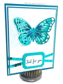 Linda Vich Creates: Butterfly Thinlits Meet Watercolor Wings. A boldly inked butterfly from Watercolor Wings is showcased behind the detailed die cut from the Butterfly Thinlits.