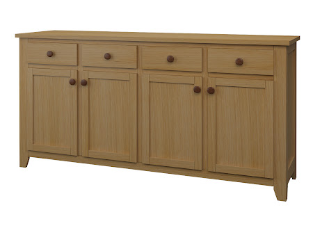 Shaker Credenza in Natural Hickory