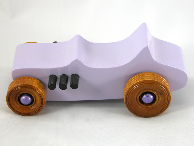 Handmade Wood Toy Car Hot Rod Freaky Ford TBucket Lavender Amber & Metallic Purple
