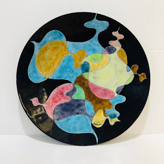 Signed Enamel Abstract Dish