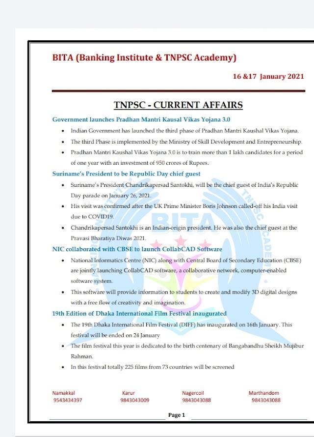 TNPSC Exam - Today Current  Affairs By BITA Academy ( 13 , 14 January  2021 )