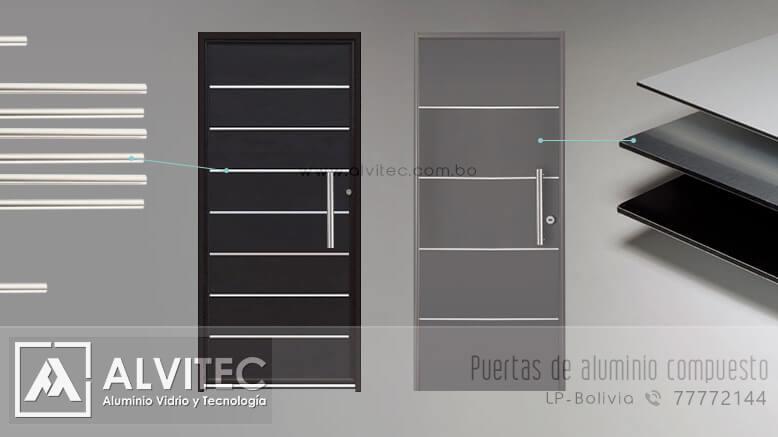Puerta con material de aluminio compuesto