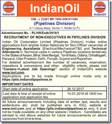 IOCL Pipelines Advertisement 2018 www.indgovtjobs.in