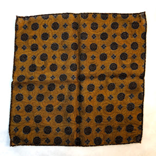 Saks Fifth Avenue Mustard Paisley Pocket Square PRICE