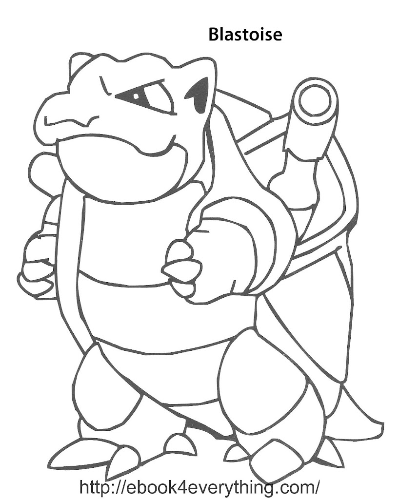 Mega blastoise free colouring pages for Pokemon coloring pages blastoise