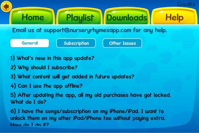 KidloLand app Help section