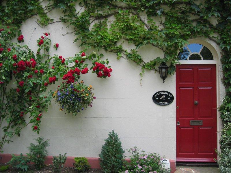 door and bushes