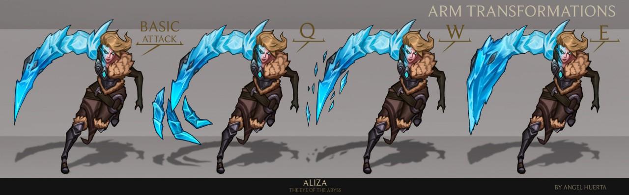 Hình ảnh cánh tay băng giá của Aliza thay đổi theo kỹ năng