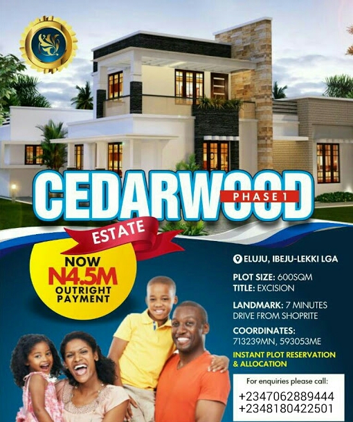 CEDARWOOD PHASE 1, ELUJU, IBEJU LEKKI, LAGOS (LAND FOR SALE)