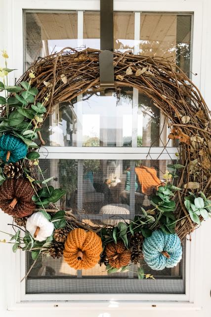 crocheted fall wreath