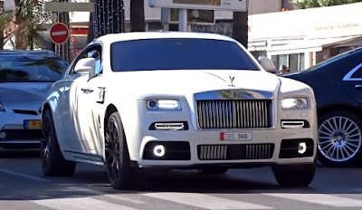 Luxury White Mansory Rolls Royce Wraith on cruise in Monaco