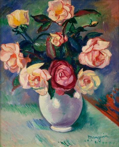 Henri-Charles Manguin - Bouquet de roses dans un vase blanc