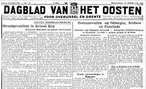 Dagblad van het Oosten. Woensdag 23 februari 1944. Verslag van het vergissingsbombardement op Nijmegen, Arnhem en Enschede van 22 februari.