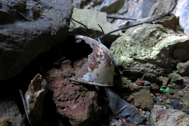 Broken bowl in the bombed cave