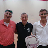 2012 Mature Event, Men's 60+: Jeff Blomstedt (runner up), Lew Holmes (tourney chair), and Bruce Merrifield (winner)