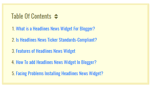 Table Of Contents for blogspot blogs