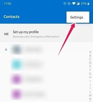 استيراد تصدير جهات الاتصال على إعدادات جهات اتصال Android