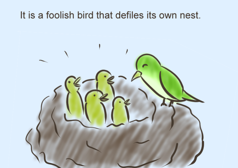 It is a foolish bird that defiles its own nestざ