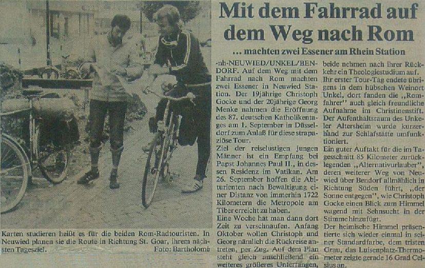 Rhein-Wied-Kurier 1982: Mit dem Fahrrad auf dem Weg nach Rom machten zwei Essener am Rhein Station