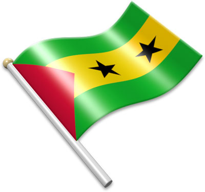The Sao Toméan flag on a flagpole clipart image