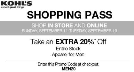 Kohls Coupon Code 20 percent off for man apparel