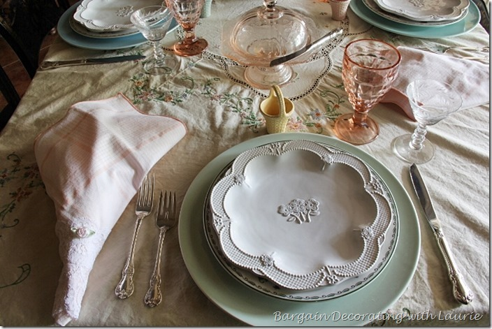 Pastel Floral Themed Tablescape-Bargain Decorating with Laurie