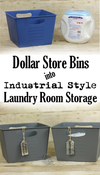 Pretty laundry room storage from dollar store plastic bins
