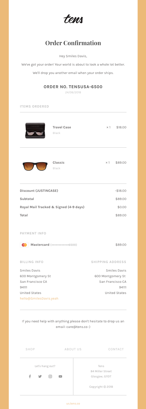 Tens e-commerce confirmation letter example