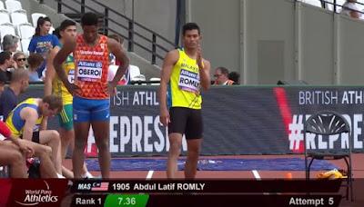 Abdul Latif Romly raih emas, perbaharui rekod kejohanan lompat jauh lelaki T20 pada Kejohanan Dunia Olahraga Para 2017 di London