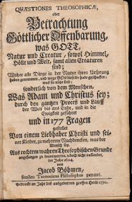 Cover of Jakob Bohme's Book Quaestiones Theosophicae Oder Betrachtung Gottlicher Offenbarung (1730,in German)
