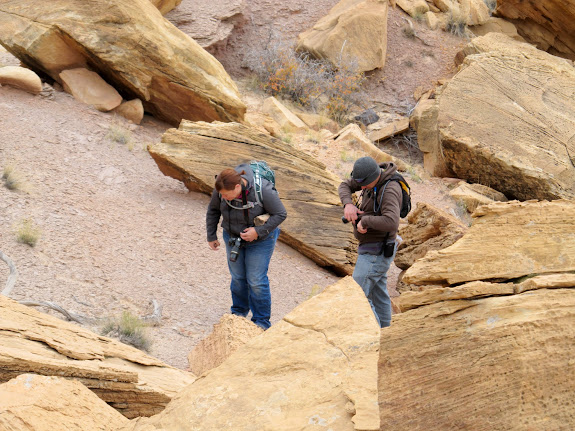 Donna and Nolan looking at petrified wood