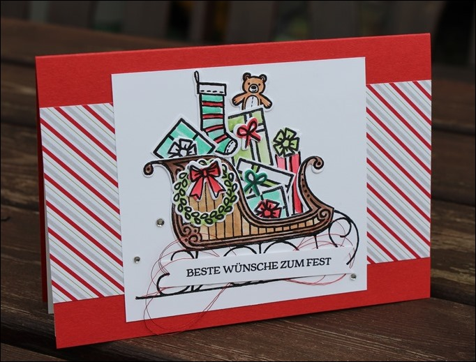 Christmas Card Stampin Up Weihnachtsschlitten Weihnachten Karten Geschenke Gifts Sleigh 00