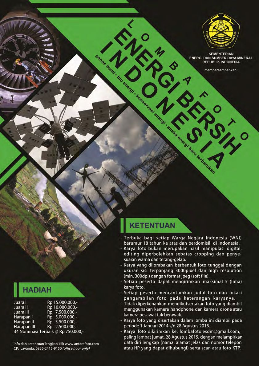 Lomba Foto Energi Bersih Indonesia dari Kementerian Energi dan Sumber Daya Mineral Indonesia