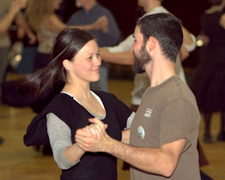 A couple dancing at the Saturday night dance.