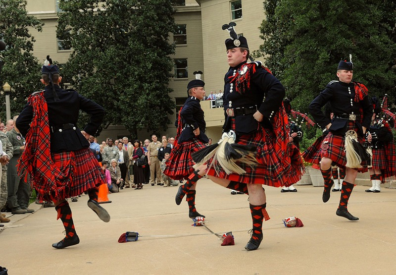 The British Army's 21-member Pipes and Drums corps of the 1st Battalion Scots Guards put on a world class performance of piping, drumming and highland sword dancing. Credit J.D. Leipold