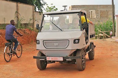 This rugged electric car is purposely built for African roads