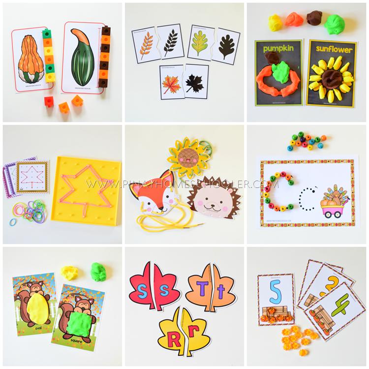 Fall Autumn Preschool and Kindergarten Learning Materials