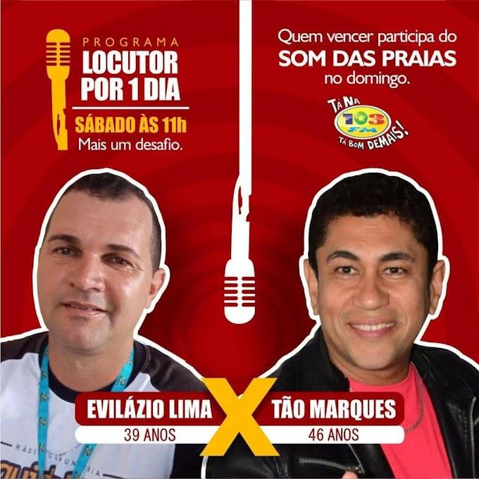 """Tão Marques participará do """"programa Locutor por 1 dia"""" da 103 FM"""