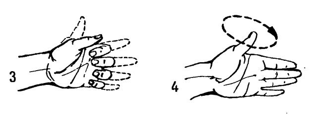 3 С силой сжать пальцы в кулак. 4 Большим пальцем сделать круговые движения.