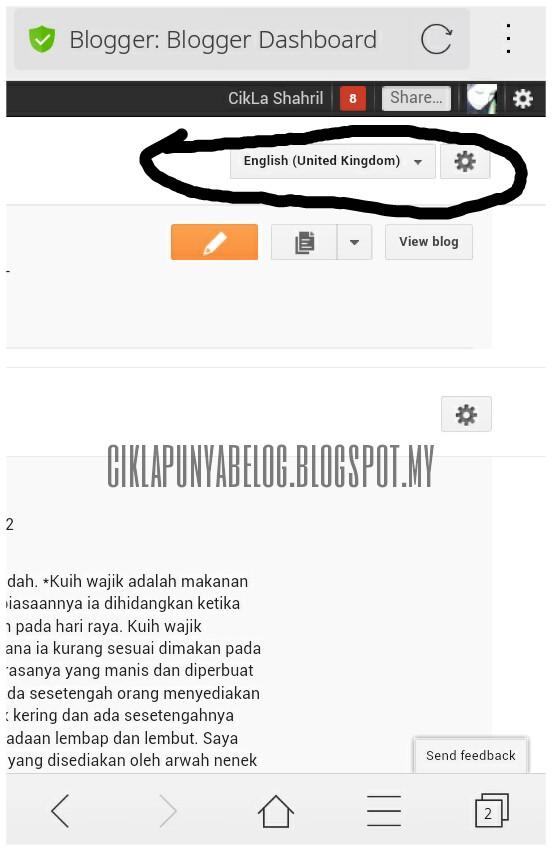 Cara ubah bahasa di blog.
