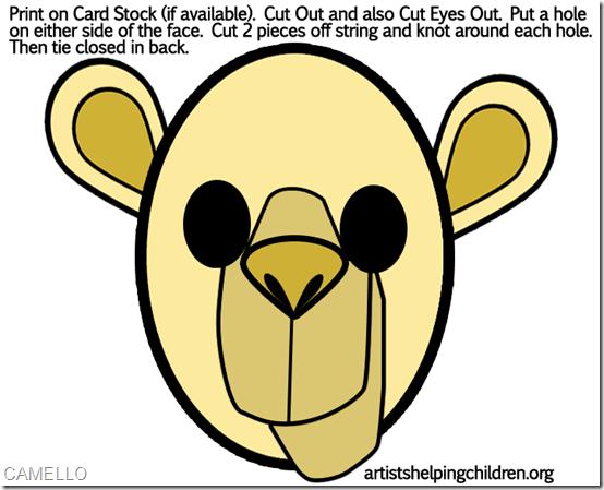máscara de camelllo  en color para imprimir