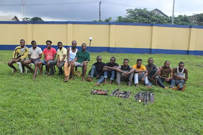 Photos Of Kidnappers Arrested By Rivers State Police & Weapons Recovered