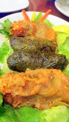 Mixed Dolma with onion, zucchini, and grape leaves stuffed with rice, diced vegetables and spices infused with sun dried tomato and pomegranate. My favorite are the dolma stuffed in onion rather than the grape leaves