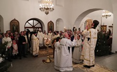 President Putin attended Christmas mass at Spassky Cathedral in St George's (Yuriev) Monastery.