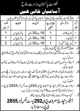 Ministry of Defence Islamabad Jobs February 2021