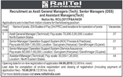 Railtel Notification 2018 www.indgovtjobs.in