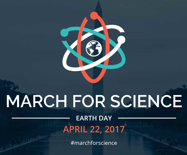 Logo of the 'March For Science' on Earth Day, 22 April 2017. Graphic: March For Science